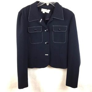 Ann Taylor Navy Blue Vintage Button Jacket